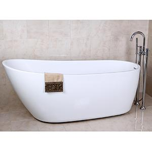 Freestanding Acrylic bathtub floor mounted tub filler tub
