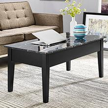 Dorel Living Faux Marble Lift Top Coffee Table Black