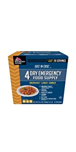 food supply kit; emergency food kit; 2-day supply; camping food