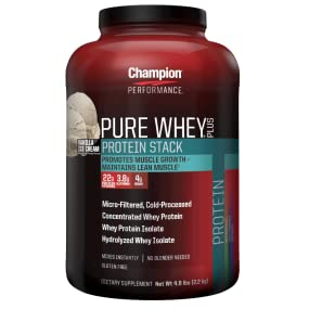 Champion Performance Pure Whey Plus Vanilla Ice Cream.