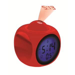 Coby CBC-54-RED Talking Alarm Clock with Led Projector (Red)