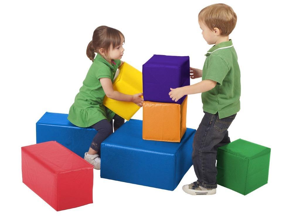9 Cube Kids Red Yellow Blue Toy Games Storage Unit Girls: ECR4Kids Softzone Foam Big Blocks, 7-Piece Set: Toy
