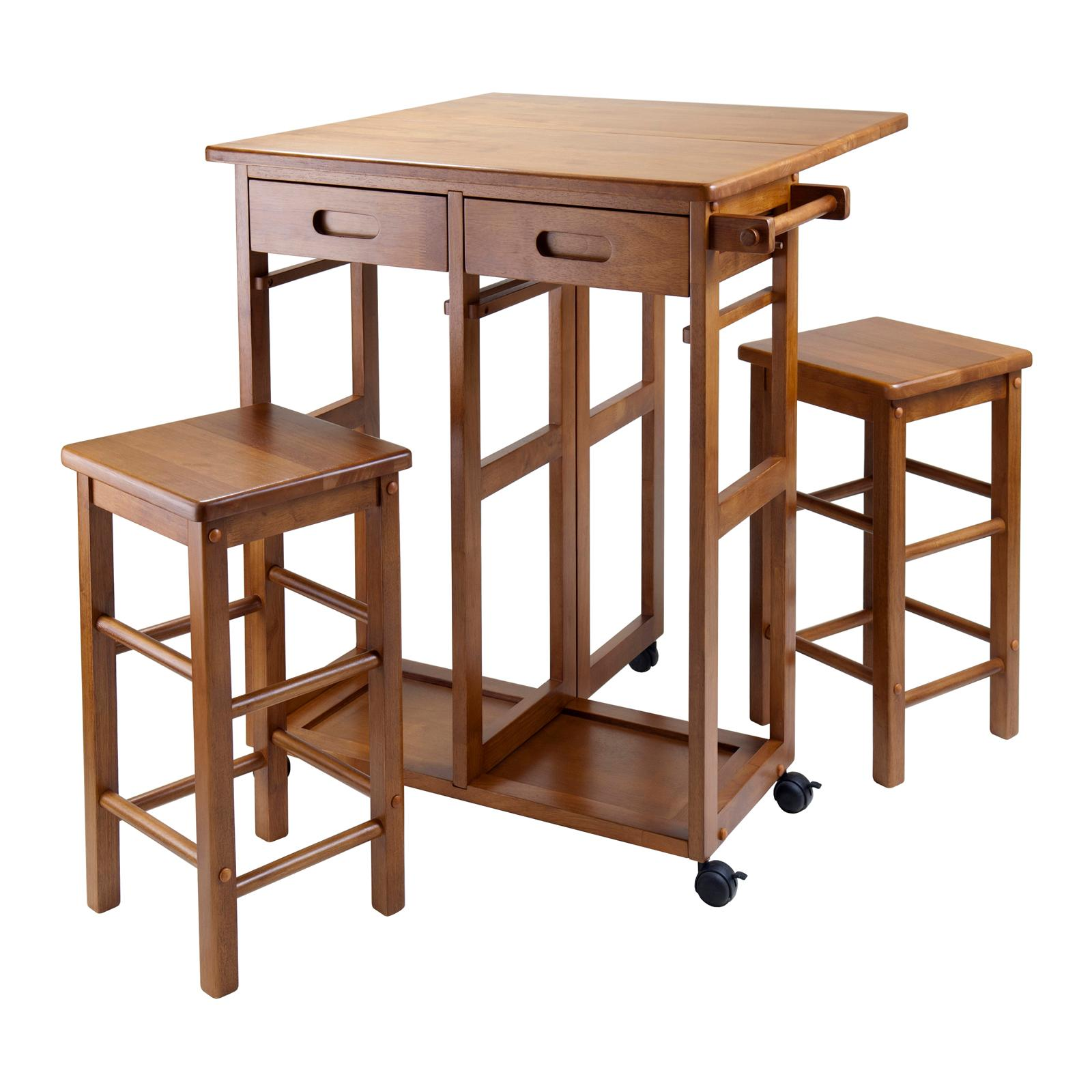 Winsome 39330 suzanne kitchen square teak - Kitchen island with stools ...