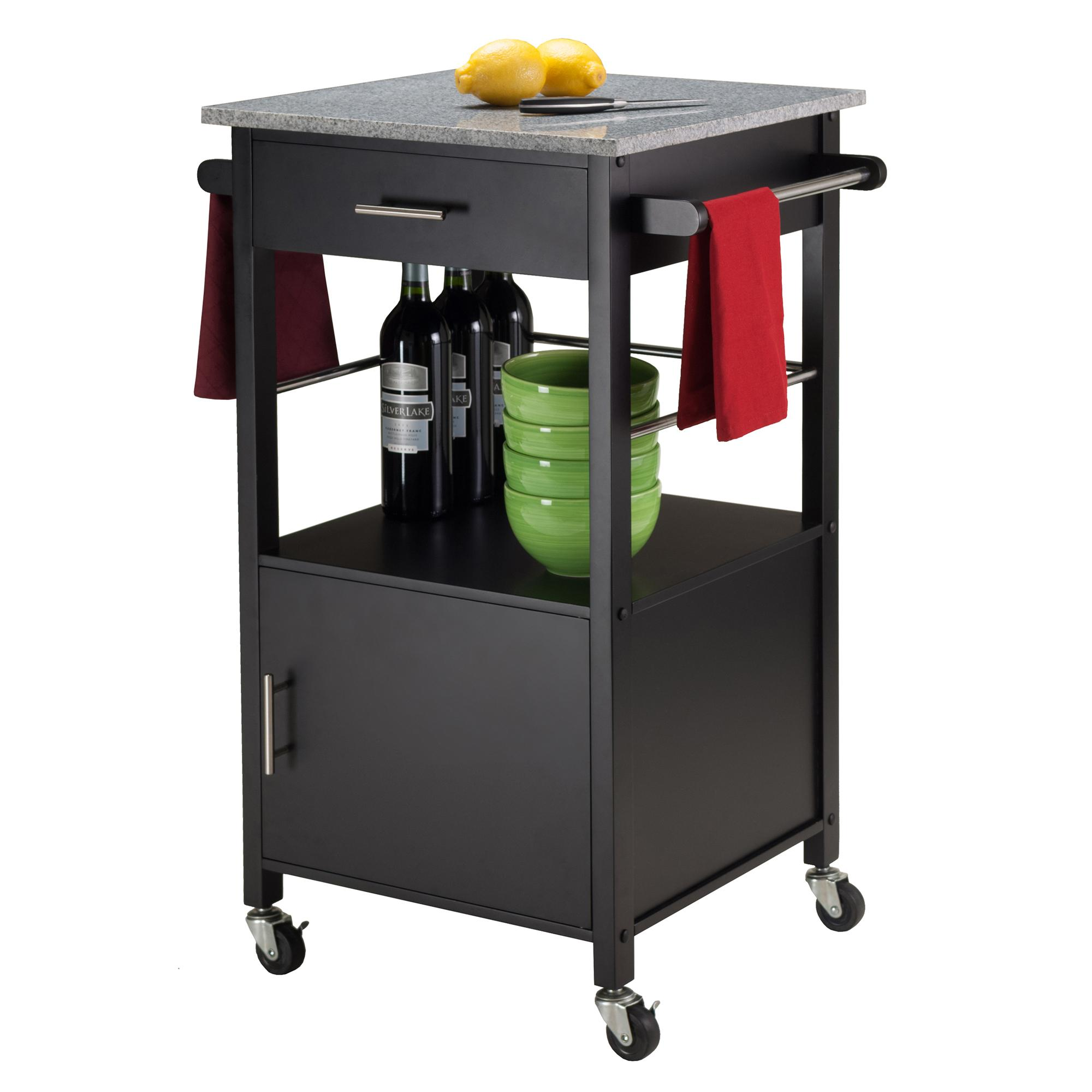Charmant Davenport Kitchen Cart With Granite Top Black