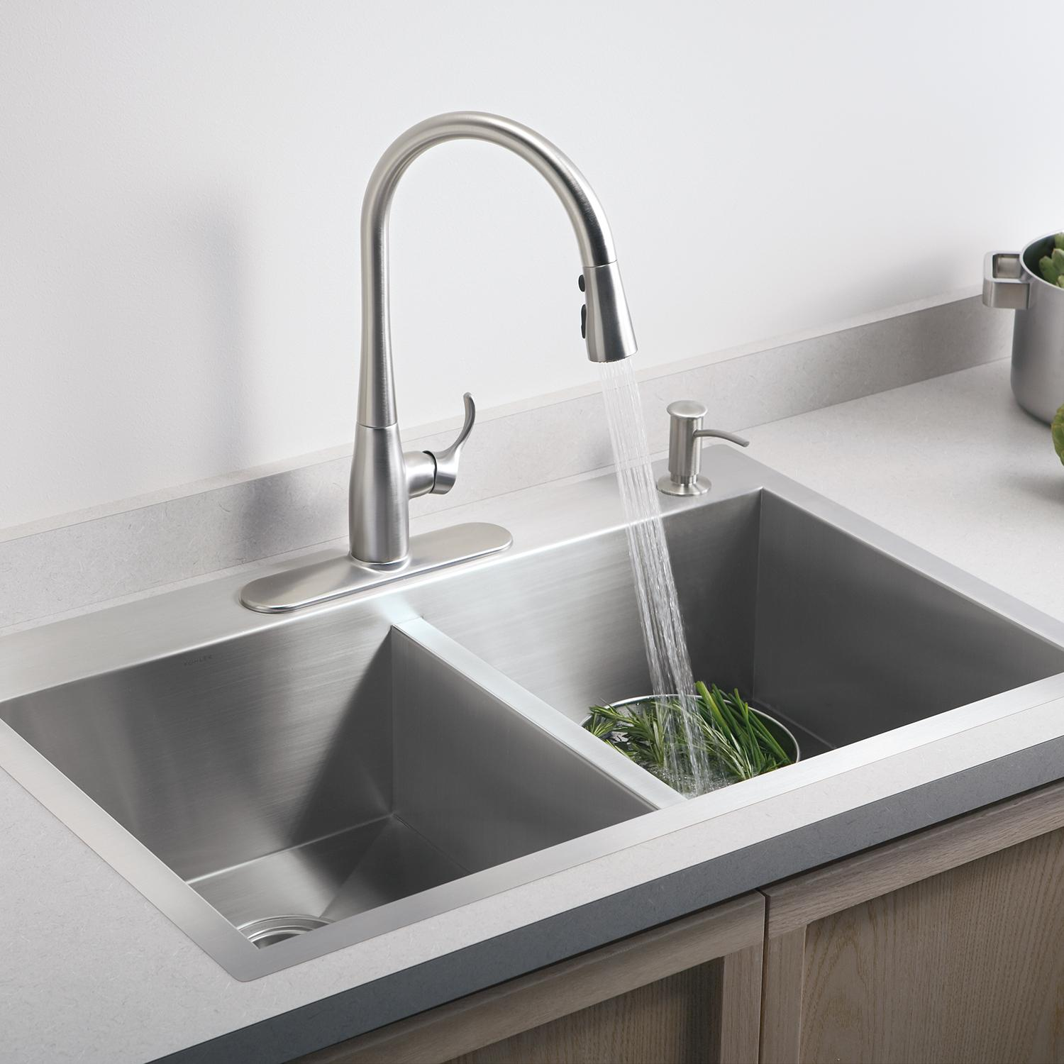 KOHLER K-649-VS Simplice Pull-Down Secondary Sink Faucet, Vibrant ...