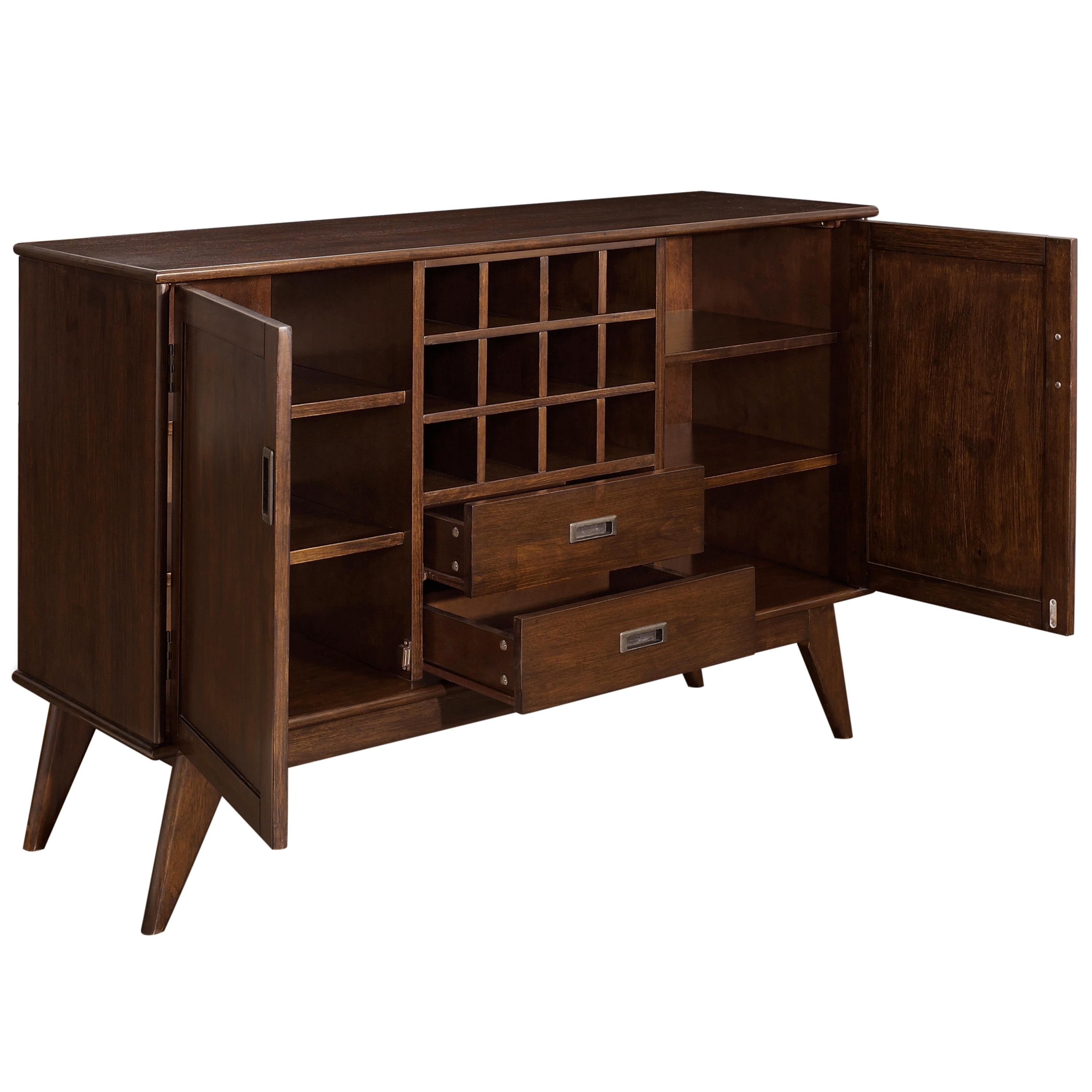 simpli home draper mid century sideboard. Black Bedroom Furniture Sets. Home Design Ideas