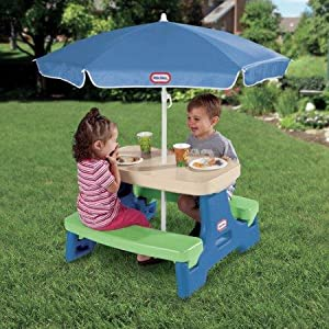 Amazon little tikes easy store picnic table with umbrella toys features watchthetrailerfo