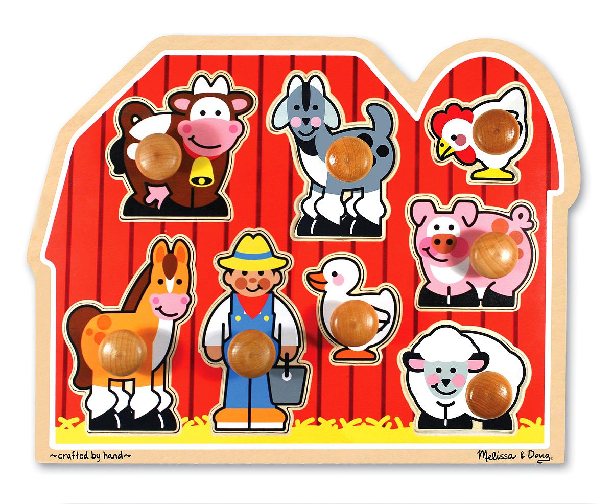 Amazon Melissa Doug Farm Animals Jumbo Knob Wooden Puzzle