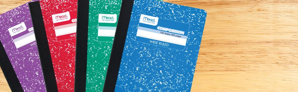Mead, composition books, wide-ruled, wide ruled, wide-ruled comp books, comp books