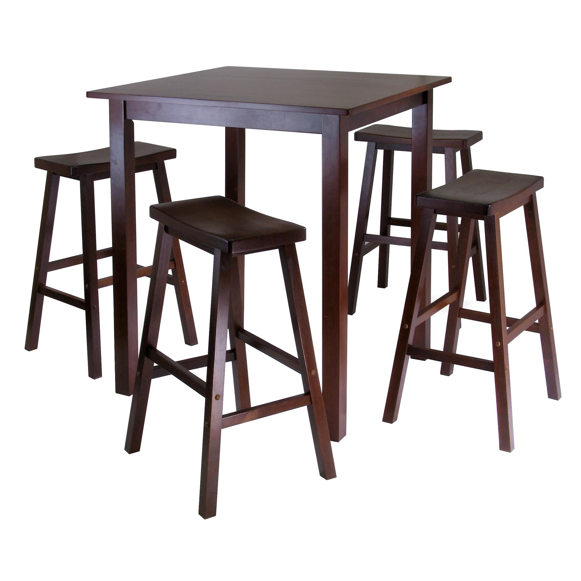 Winsome 39 s parkland 5 piece square high pub for Small table and stool set
