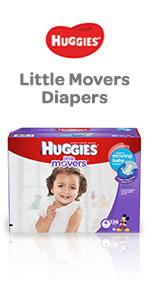 Huggies Little Movers are our best diaper for active babies and include handy do up grip strips.