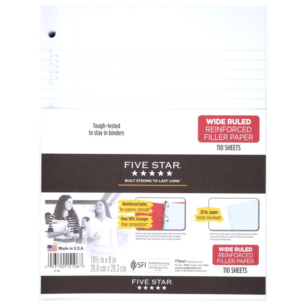 Five Star, Filler Paper, Reinforced Filler Paper, Loose Leaf Paper, Wide  Print Loose Leaf Paper