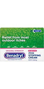 BENADRYL Itch Stopping Cream, Gel, Spray, and Stick