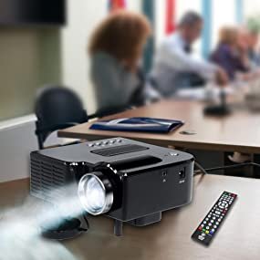 Mini Compact Pocket Projector, 1080p Support, USB/SD Card Readers, HDMI & VGA Inputs, Upside-Down Mo