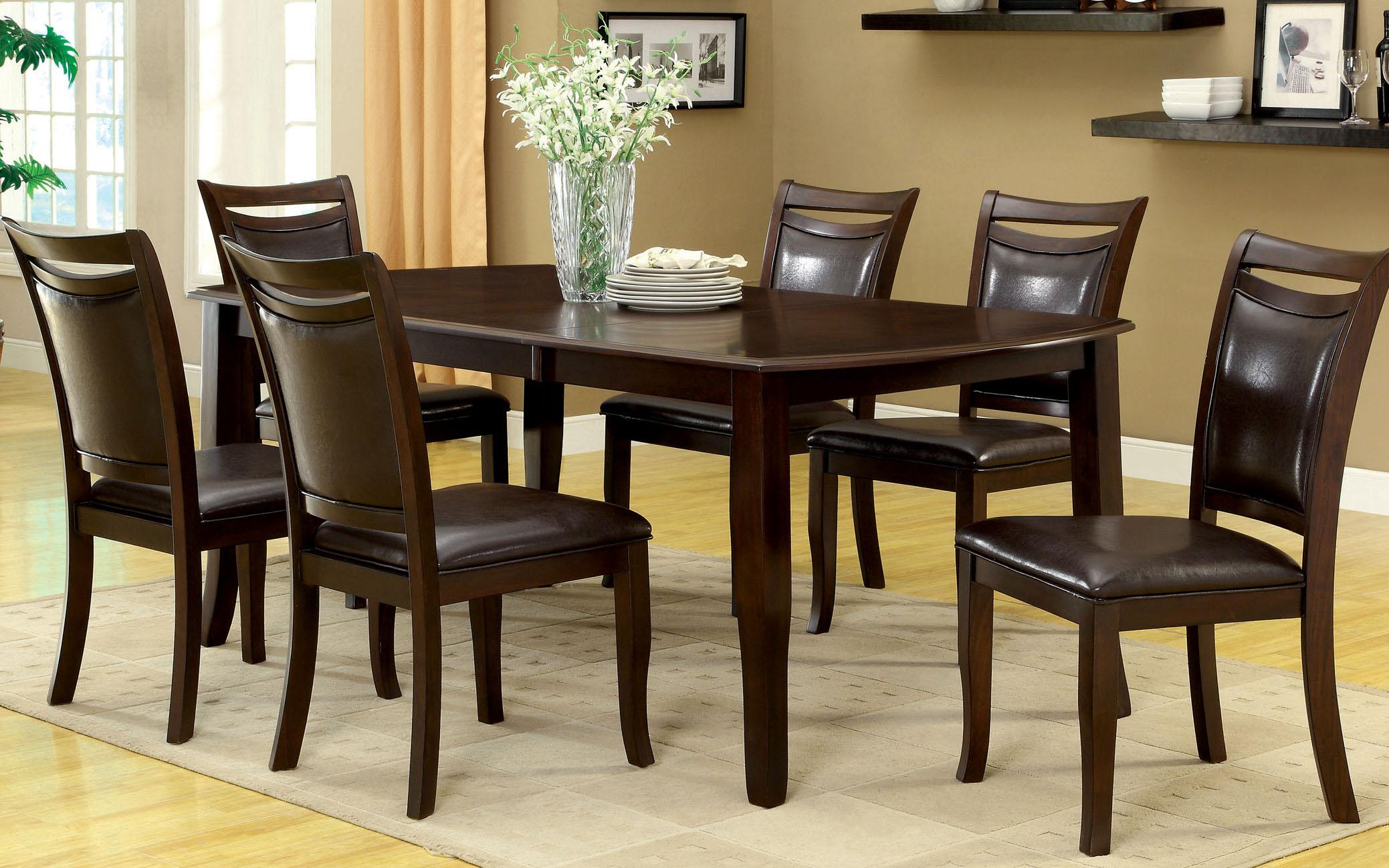 Amazoncom Furniture Of America Carlson Piece Dining Table Set - Walnut color dining table