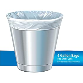 Glad Small Trash Bags - OdorShield 4 Gallon White Trash Bag, Febreze Fresh Clean Scent- 26 Count Each (Pack of 6)