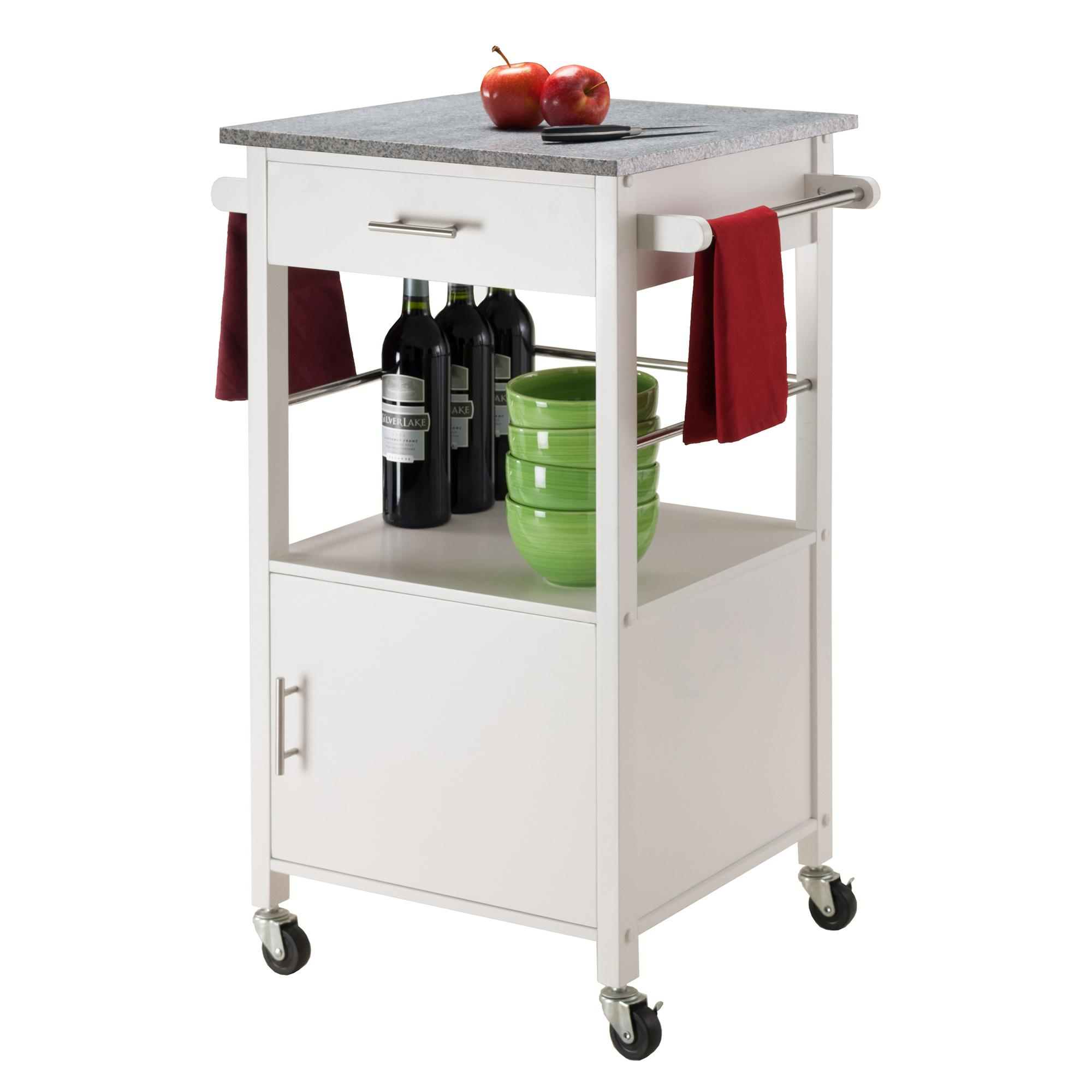 White Kitchen Cart With Granite Top Amazoncom Winsome Davenport Kitchen Cart With Granite Top
