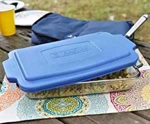 anchor hocking; glass; bakeware; tote; easy transport; dishes; storage; serveware; cooking;