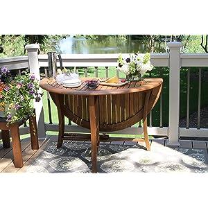 48 Inch Diameter Folding Eucalyptus Outdoor Dining Table, Outdoor Interiors