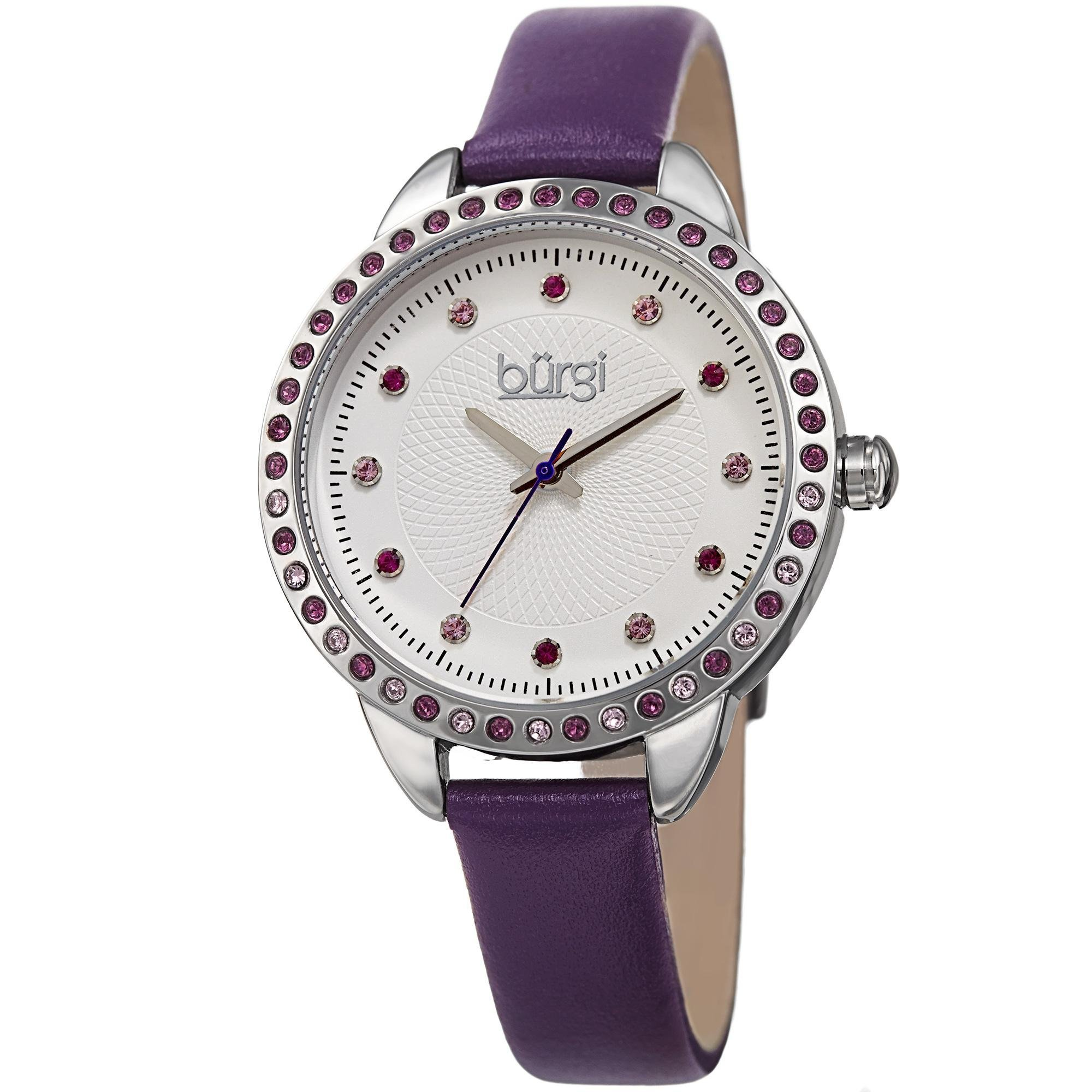 Burgi women 39 s genuine swarovski crystal accented white dial and silver tone bezel for Violet leather strap watch
