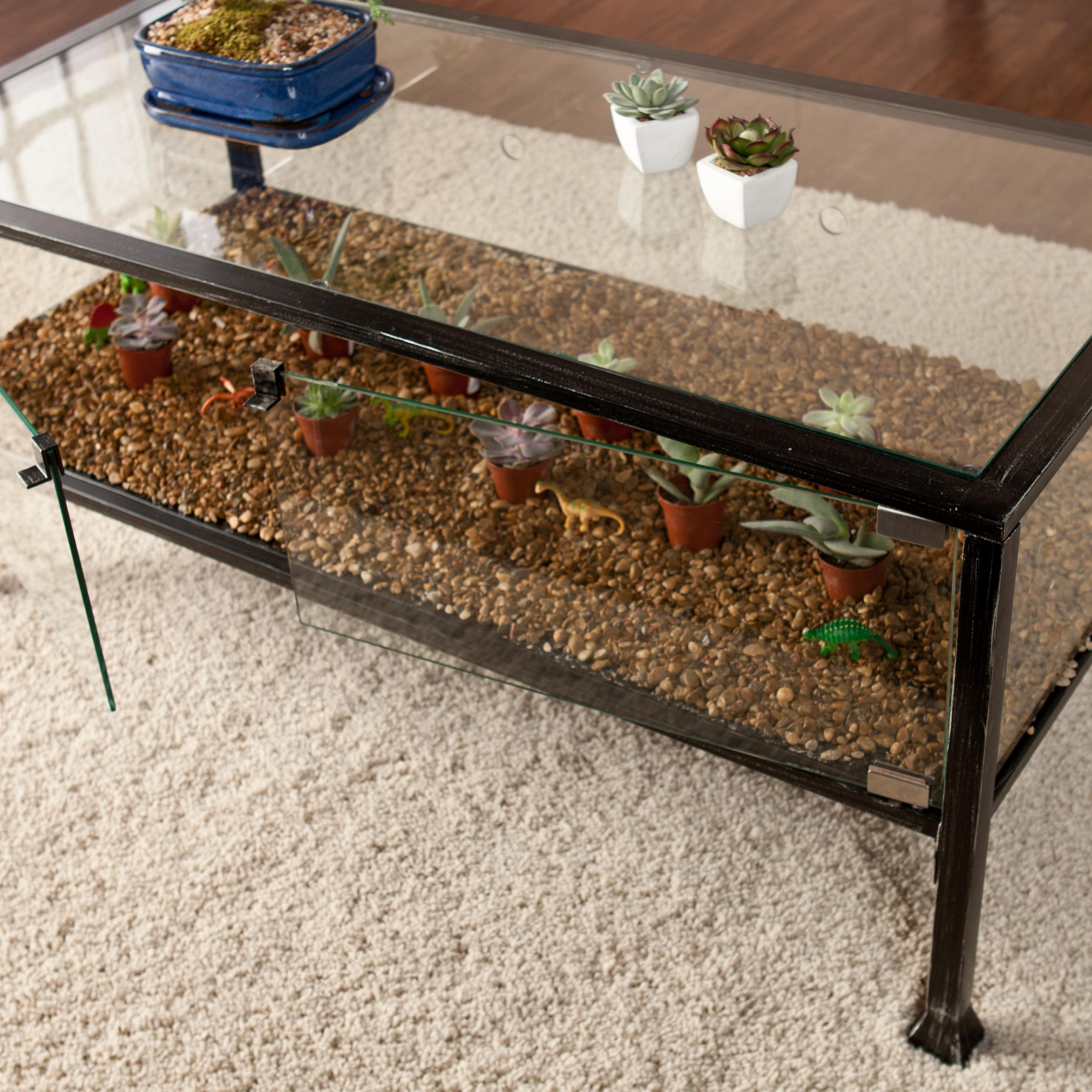 Southern enterprises terrarium display cocktail coffee table black with silver Coffee table top ideas