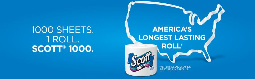 Scott 1000 is a long lasting toilet paper roll. One thousand bathroom tissue sheets per toilet roll.
