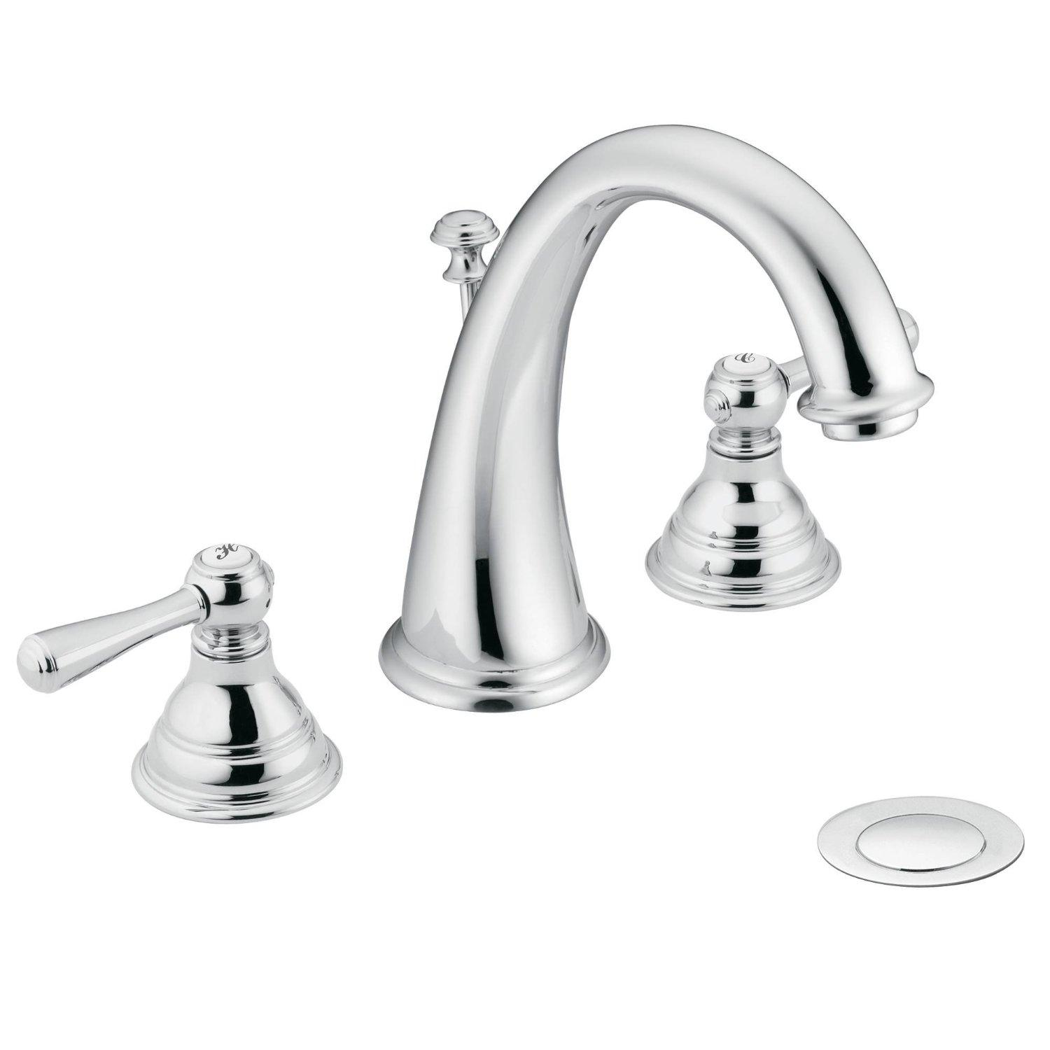 . Moen T6125 Kingsley Two Handle Widespread High Arc Bathroom Faucet  Valve  Required  Chrome
