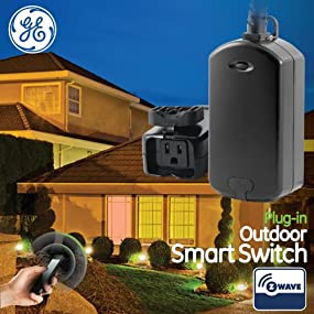 ge z wave wireless smart lighting control outdoor module on off plug in bl. Black Bedroom Furniture Sets. Home Design Ideas