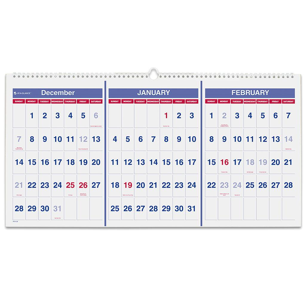 Horizontal Monthly Calendar : Amazon at a glance pm horizontal format three