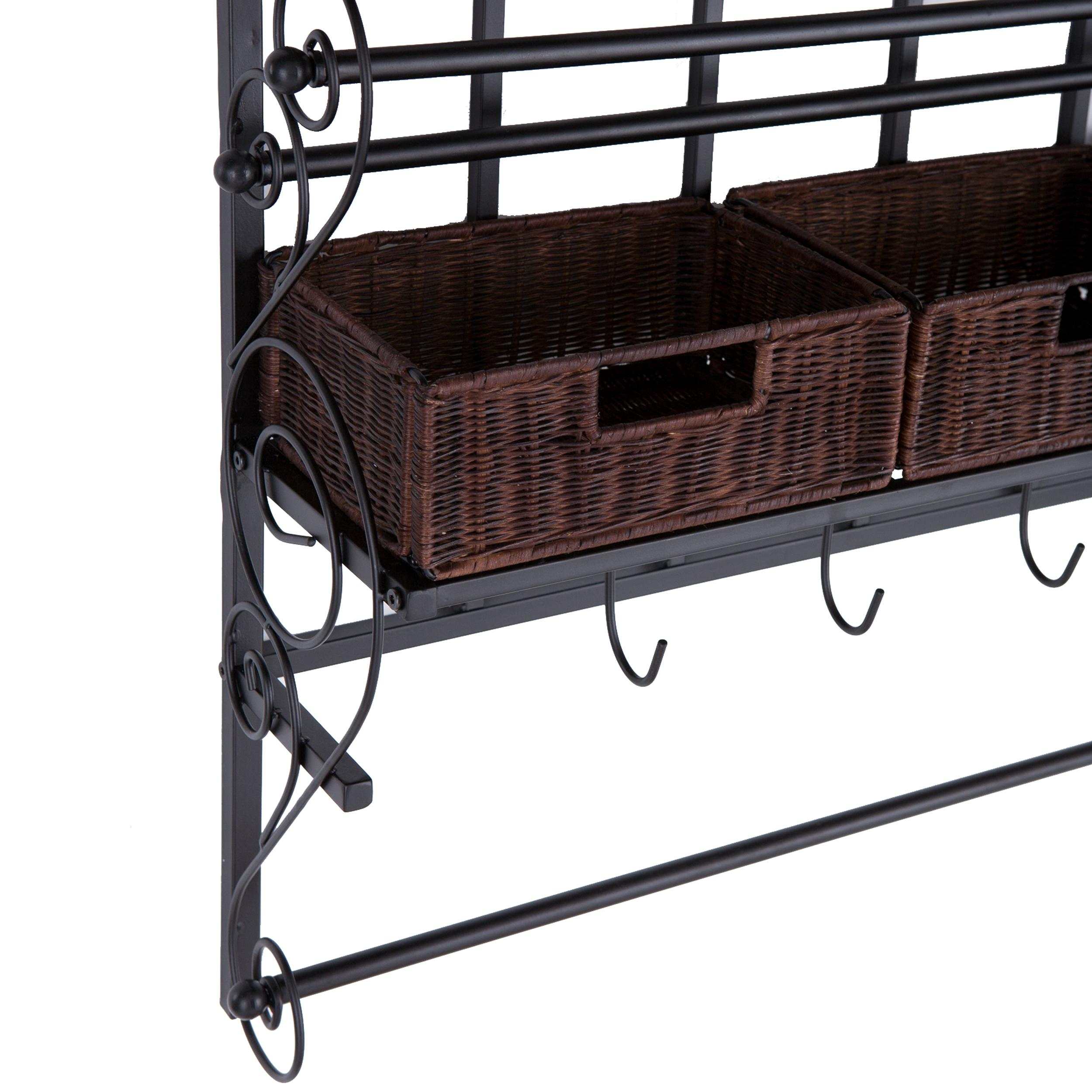 southern enterprises hz6245 wall mount craft storage rack with rattan baskets black. Black Bedroom Furniture Sets. Home Design Ideas