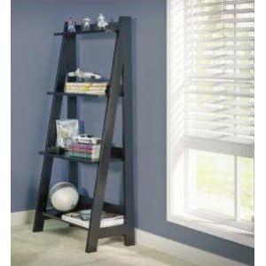 bush furniture alamosa ladder bookcase in classic black bush office furniture amazon