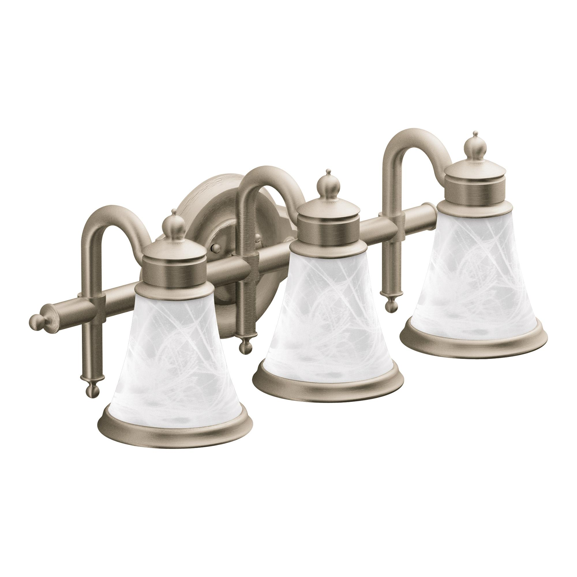 Moen YB9863BN Waterhill Three Globe Bath Light, Brushed Nickel ...
