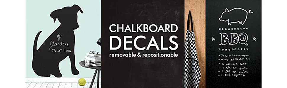 Amazon Com Wallies Wall Decals Reusable Slate Gray Chalkboard Wall Sticker Set Of 4 Home Kitchen