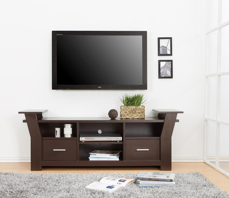 Amazoncom IoHOMES Torena Multi Storage TV Stand Walnut
