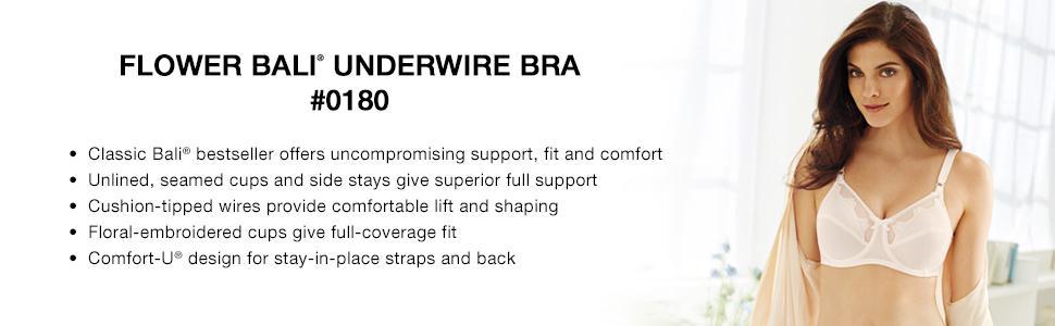 8635a9e693 Bali Women s Flower Underwire Bra  0180 at Amazon Women s Clothing ...
