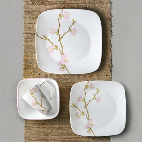 Corelle Square Cherry Blossom 16 piece Dinnerware Set & Amazon.com | Corelle Cherry Blossom Square Dinnerware Set (Serves 4 ...