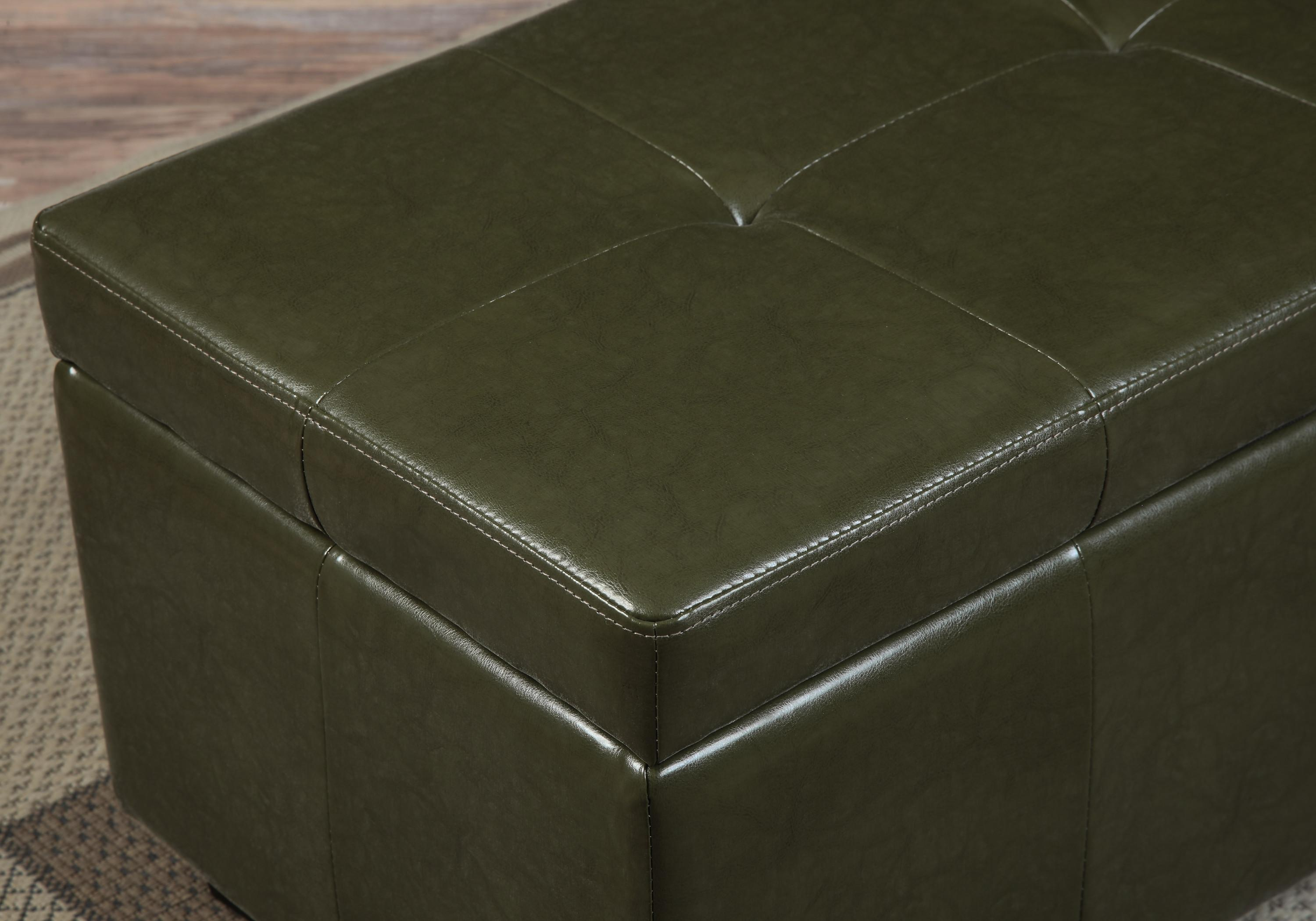 Amazon.com: Simpli Home Castleford Rectangular Storage Ottoman Bench, Large, Deep Olive Green