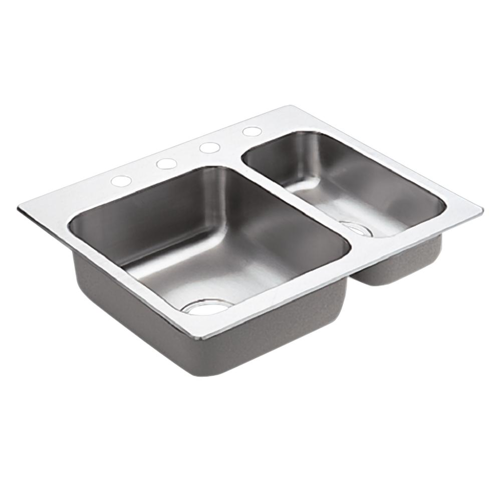 Moen 2000 Series 20 Gauge Double Bowl Drop In Sink