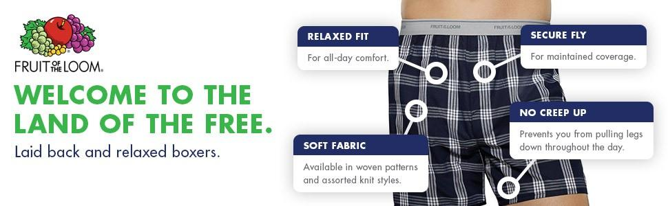 Fruit of the Loom Men's 5-Pack Soft Stretch Knit Boxer