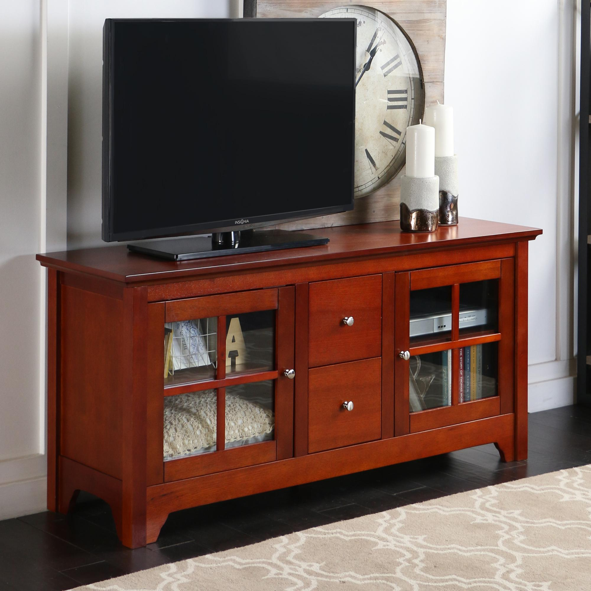 Amazon Com Walker Edison 53 Wood Tv Stand Console With Storage