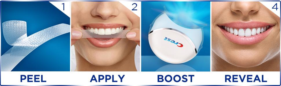 Crest, Whitestrips, application, how-to
