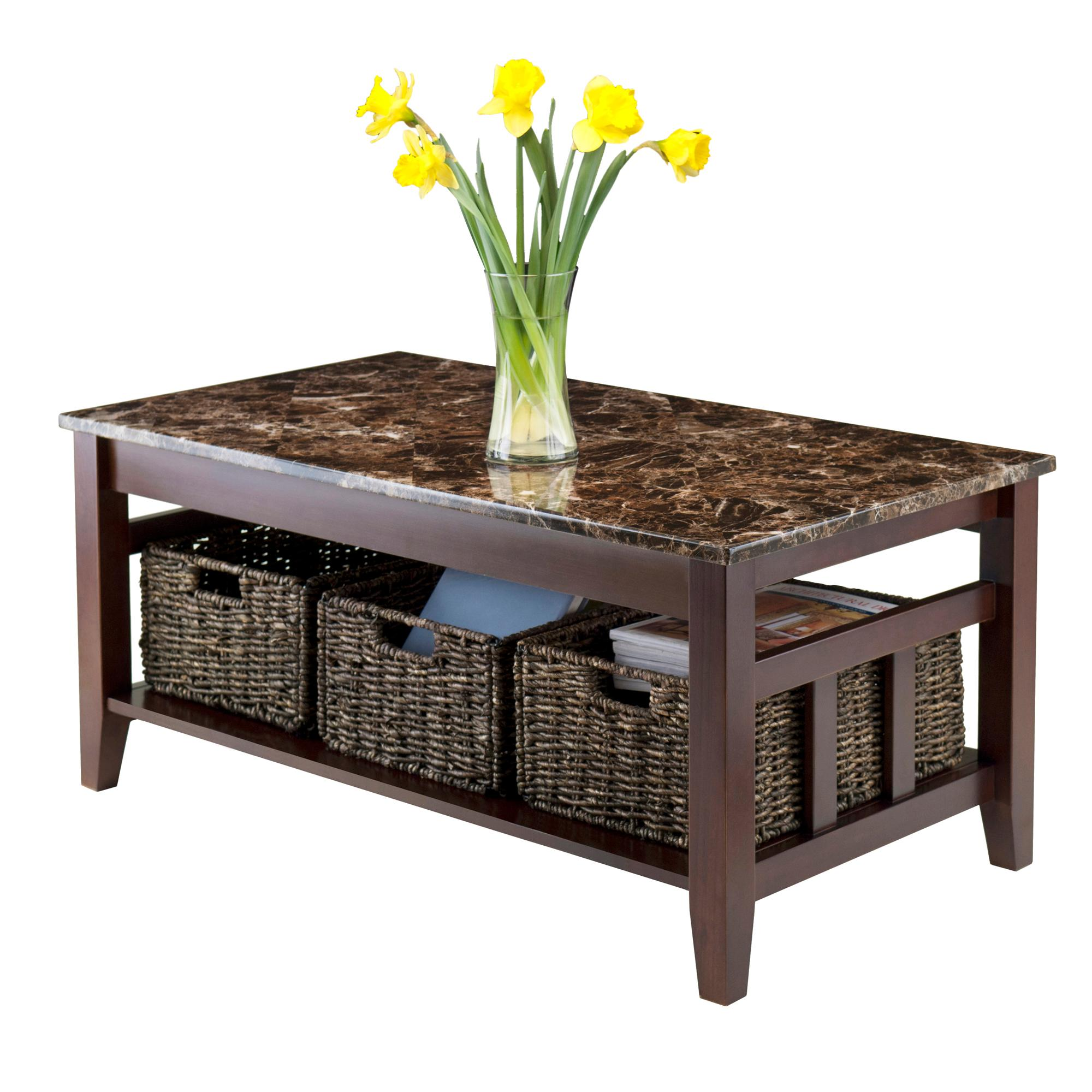 Amazoncom Winsome Wood Faux Marble Top Zoey Coffee Table Kitchen - All marble coffee table