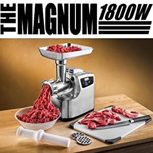 STX Magnum 1800W Series Stainless Steel Electric Meat Grinder
