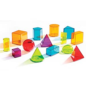 Amazon.com : Learning Resources View-Thru Geometric Solids, 14 ...