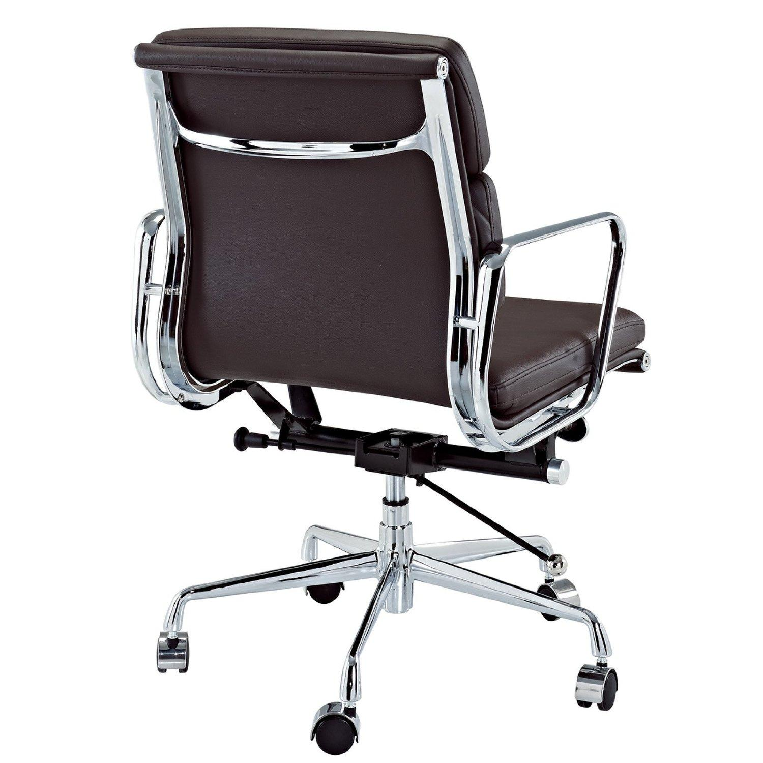 modway discovery mid back leather conference office chair in brown genuine leather. Black Bedroom Furniture Sets. Home Design Ideas