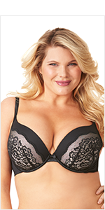 79b5626afac76 Olga Women s Flirty Deep Plunge Underwire Contour Bra with Lace at ...