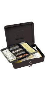 7111D Locking Cash Box with 6 Compartment Tray