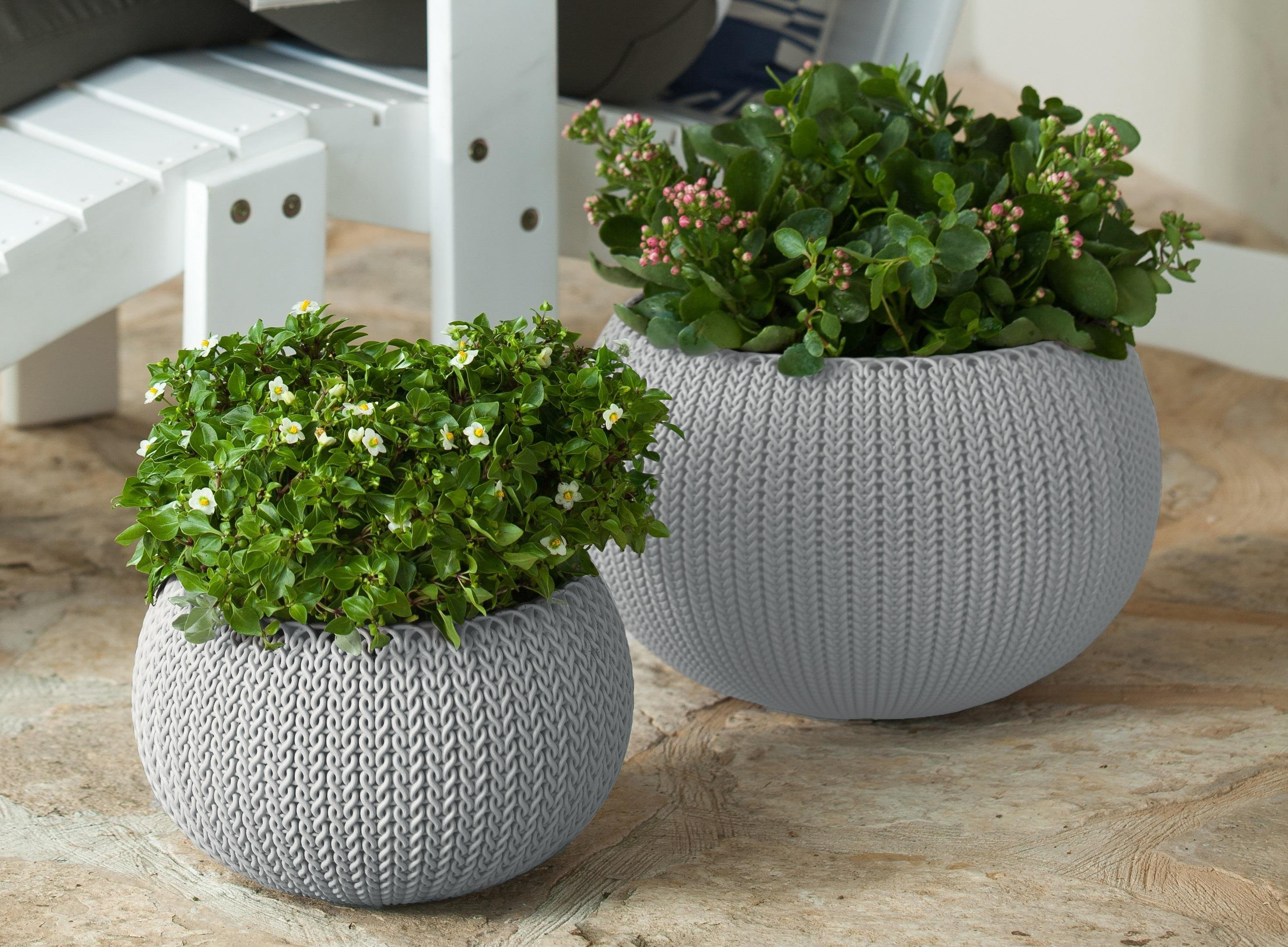 Amazon Com Keter Cozies Planters Set Of 2 Knit Texture