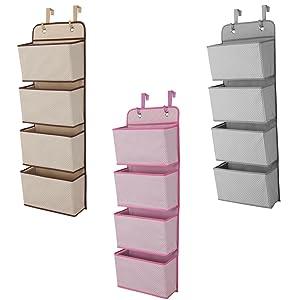 nursery, storage, over, the, door, hanging, organizer, space, saving, pink, beige, tan, grey, gray