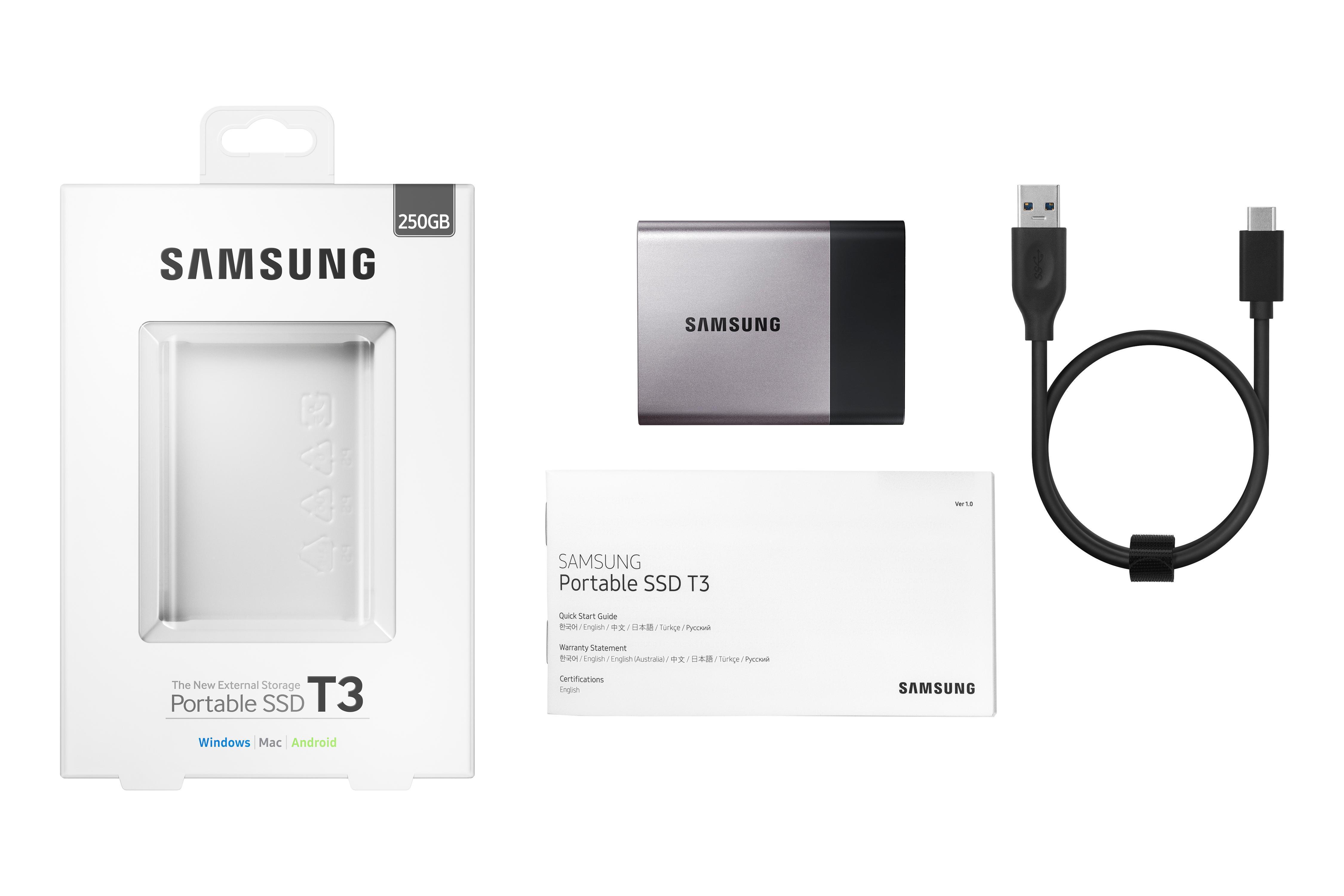 Amazon.com: Samsung T3 Portable SSD - 250GB - USB 3.1 ...